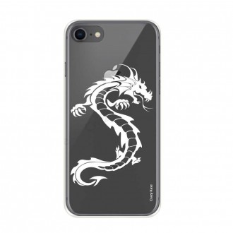 Coque iPhone 8 / 7 souple Dragon blanc - Crazy Kase
