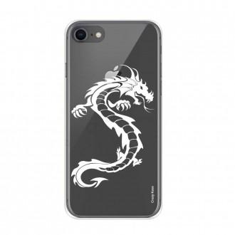 Coque iPhone 8 / 7 souple Dragon blanc - Crazy Kase