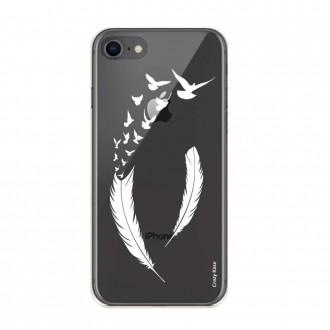 Coque iPhone 8 souple motif Plume et envol d'oiseaux - Crazy Kase