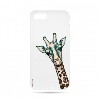 Coque iPhone 7 Transparente souple motif Tête de Girafe - Crazy Kase
