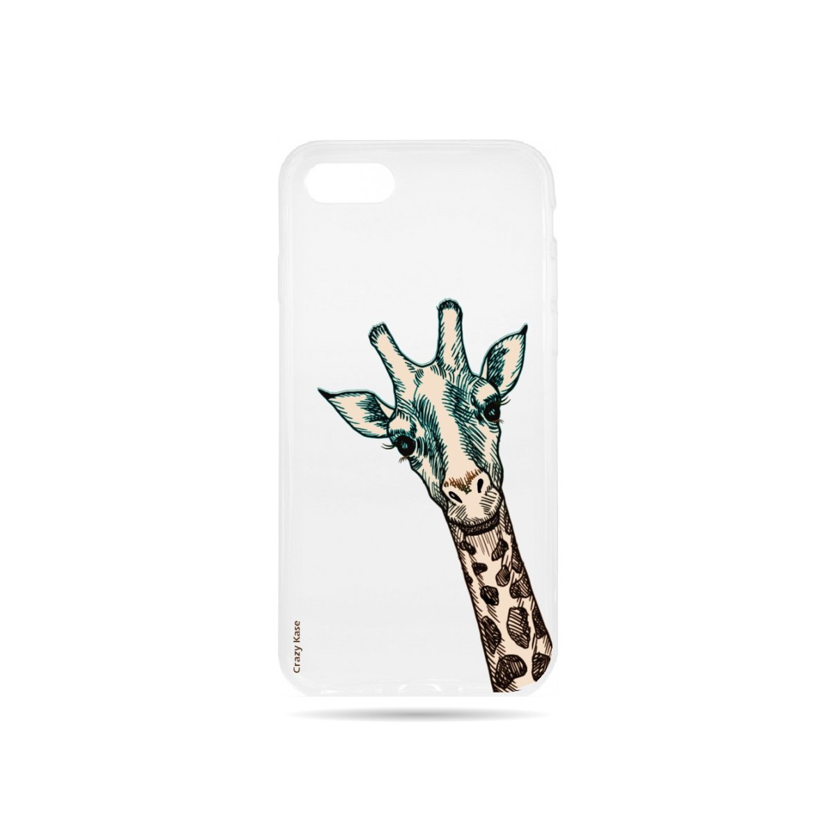 Coque iPhone 7 Transparente souple motif Tête de Girafe - Crazy Kase