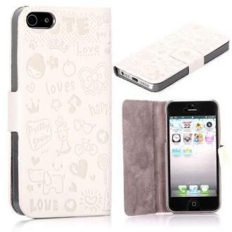 Housse blanche ouverture horizontale aimantée motif cartoon pour iPhone 5