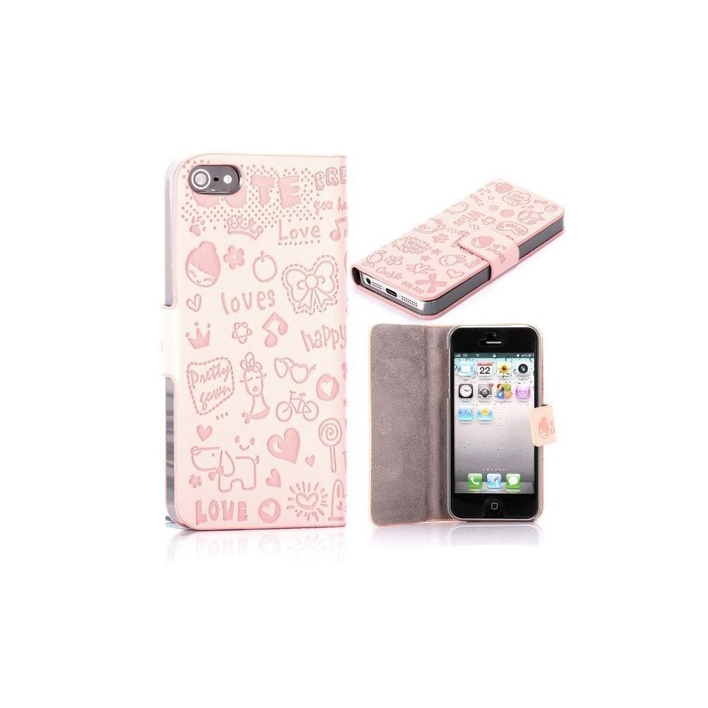 Housse rose clair ouverture horizontale aimantée motif cartoon pour iPhone 5