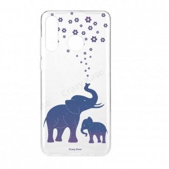 Coque Galaxy A40 souple motif Eléphant Bleu - Crazy Kase
