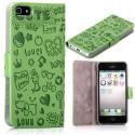 Housse verte ouverture horizontale aimantée motif cartoon pour iPhone 5