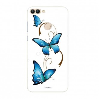 Coque Huawei P Smart 2018 souple motif Papillon et Arabesque sur fond blanc - Crazy Kase