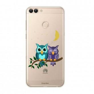 Coque Huawei P Smart 2018 souple motif chouettes au clair de lune - Crazy Kase