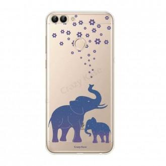Coque Huawei P Smart 2018 souple motif Eléphant Bleu - Crazy Kase