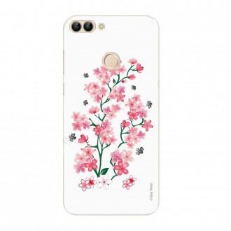 Coque Huawei P Smart souple motif Fleurs de Sakura sur fond blanc - Crazy Kase