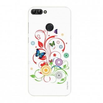 Coque Huawei P Smart souple motif Papillons et Cercles sur fond blanc - Crazy Kase