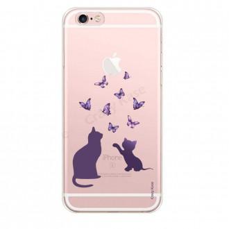 Coque iPhone 6 / 6s souple Chaton jouant avec papillon - Crazy Kase