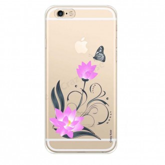Coque iPhone 6 / 6s souple motif Fleur de lotus et papillon- Crazy Kase