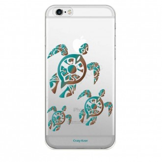 Coque iPhone 6 / 6S souple motif Famille Tortue - Crazy Kase