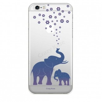 Coque iPhone 6 Plus / 6s Plus Transparente souple motif Eléphant Bleu - Crazy Kase
