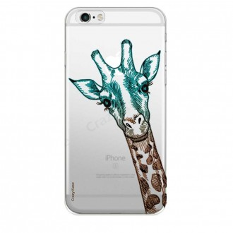 Coque iPhone 6 / 6s Transparente souple motif Tête de Girafe - Crazy Kase