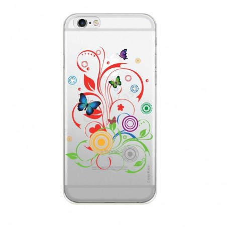 Coque iPhone 6 / 6s transparente souple motif Papillons et Cercles - Crazy Kase