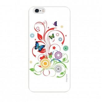 Coque iPhone 6 / 6s souple motif Papillons et Cercles sur fond blanc - Crazy Kase