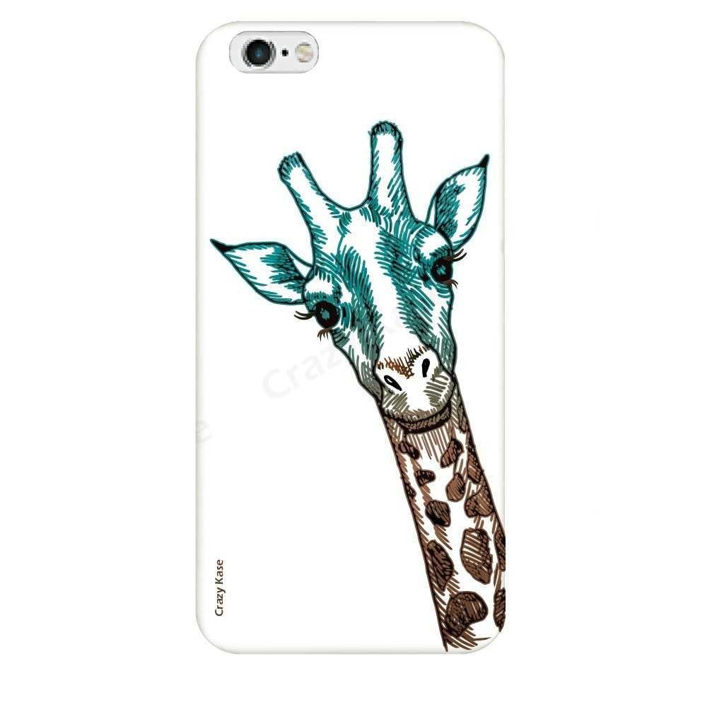Coque iPhone 6 Plus / 6s Plus souple motif Tête de Girafe sur fond blanc - Crazy Kase