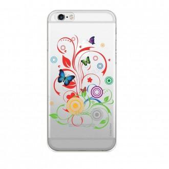 Coque iPhone 6 Plus / 6s Plus Transparente souple motif Papillons et Cercles - Crazy Kase