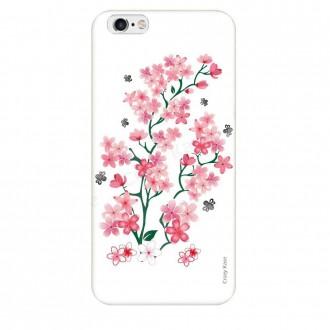 Coque iPhone 6 Plus / 6s Plus souple motif Fleurs de Sakura sur fond blanc - Crazy Kase