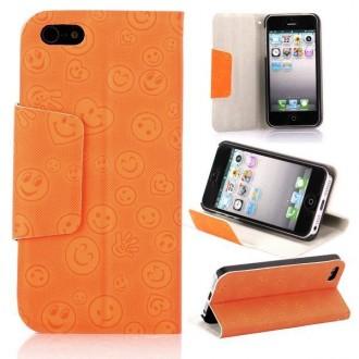 Housse orange ouverture horizontale aimantée motif smiley pour iPhone 5