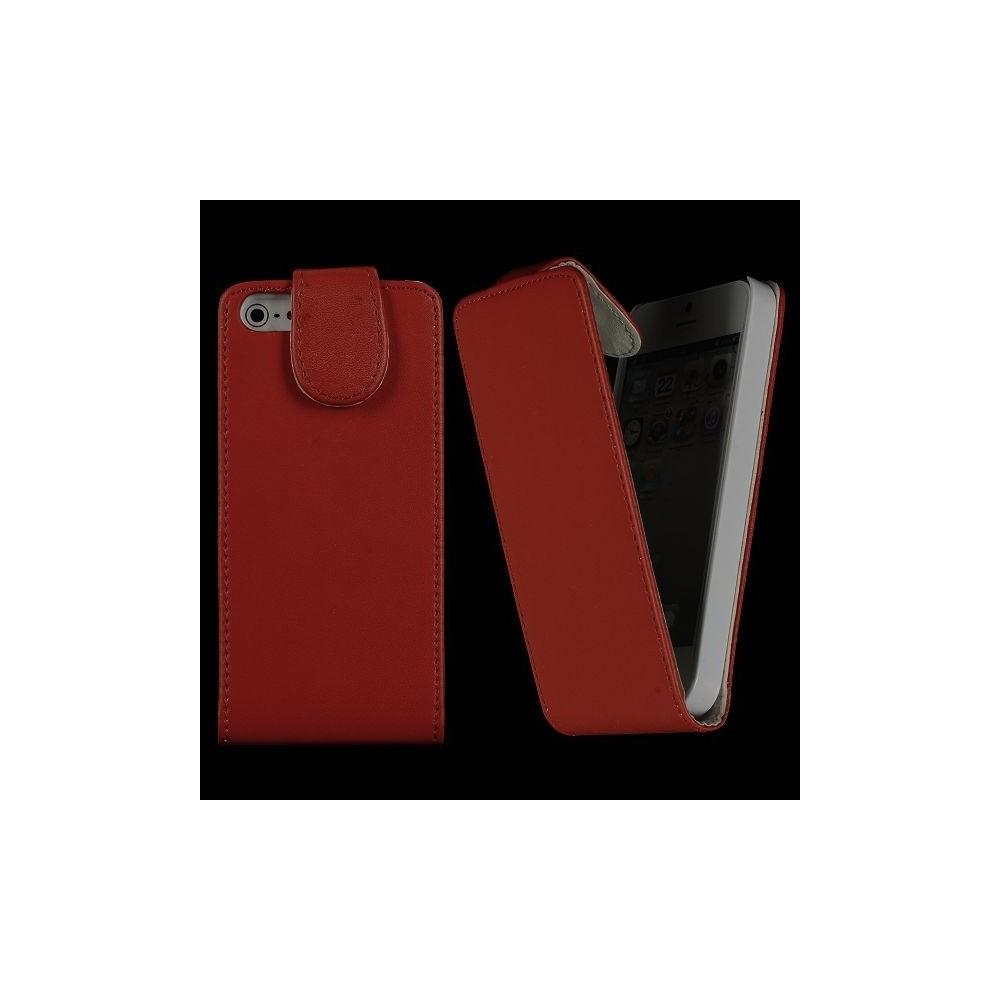 Housse rouge ouverture verticale aimantée pour iPhone 5