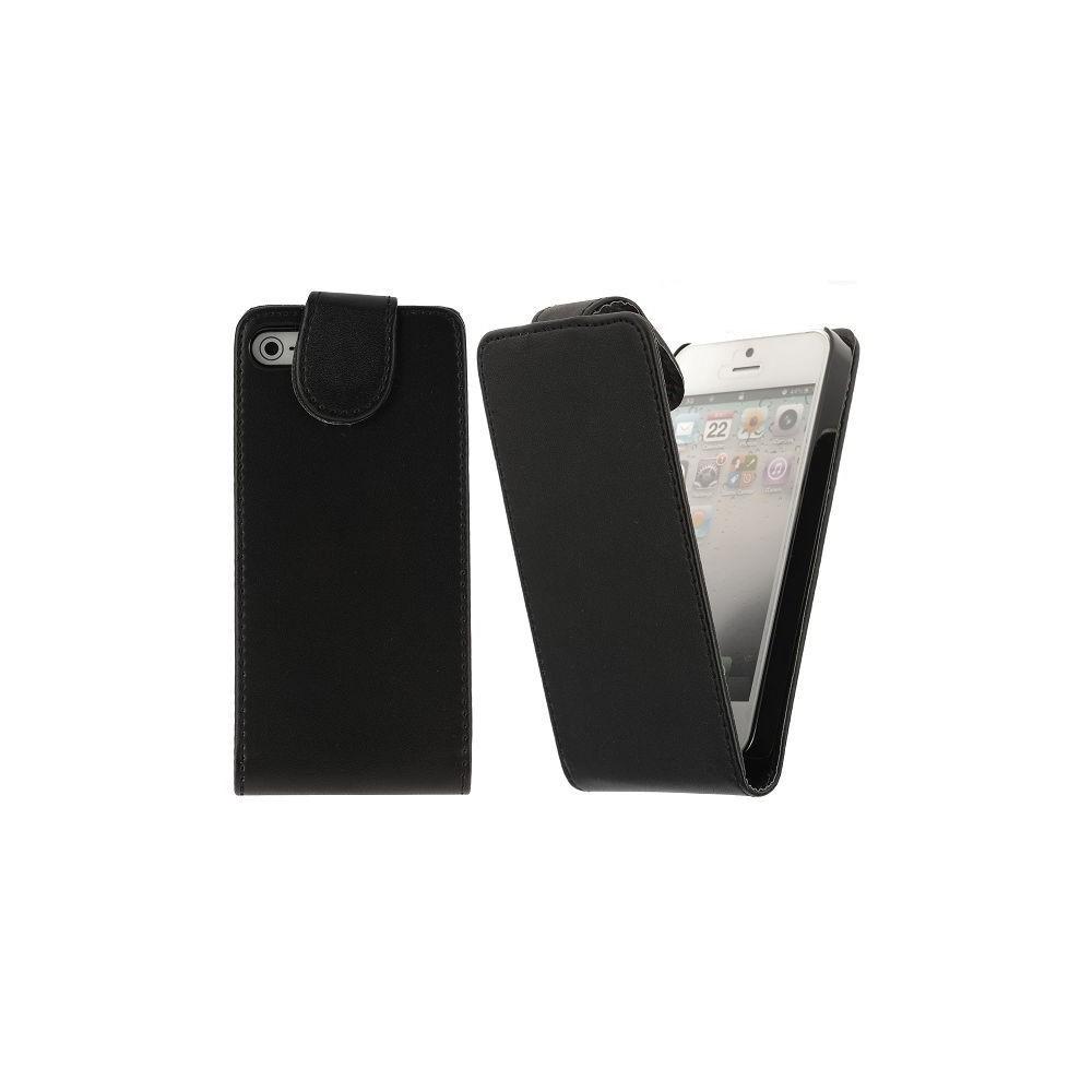 Housse noire ouverture verticale aimantée pour iPhone 5