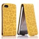 Housse luxe motif léopard jaune ouverture verticale pour iPhone 5