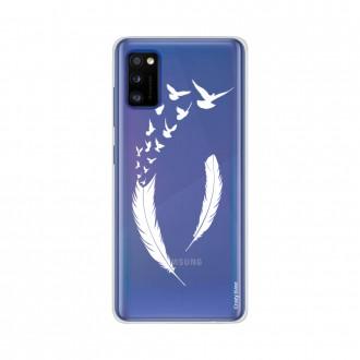 Coque pour Samsung Galaxy A41 souple Plume et envol d'oiseaux Crazy Kase