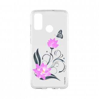 Coque Huawei P Smart 2020 souple Fleur de lotus et papillon Crazy Kase