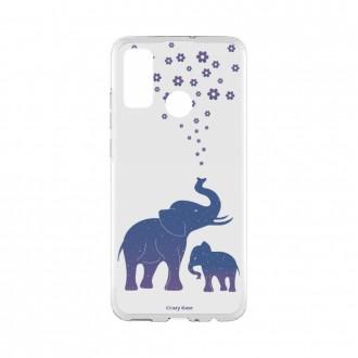 Coque Huawei P Smart 2020 souple Eléphant Bleu Crazy Kase