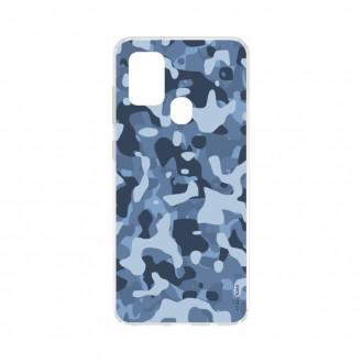 Coque Samsung Galaxy A21s souple Camouflage militaire bleu Crazy Kase