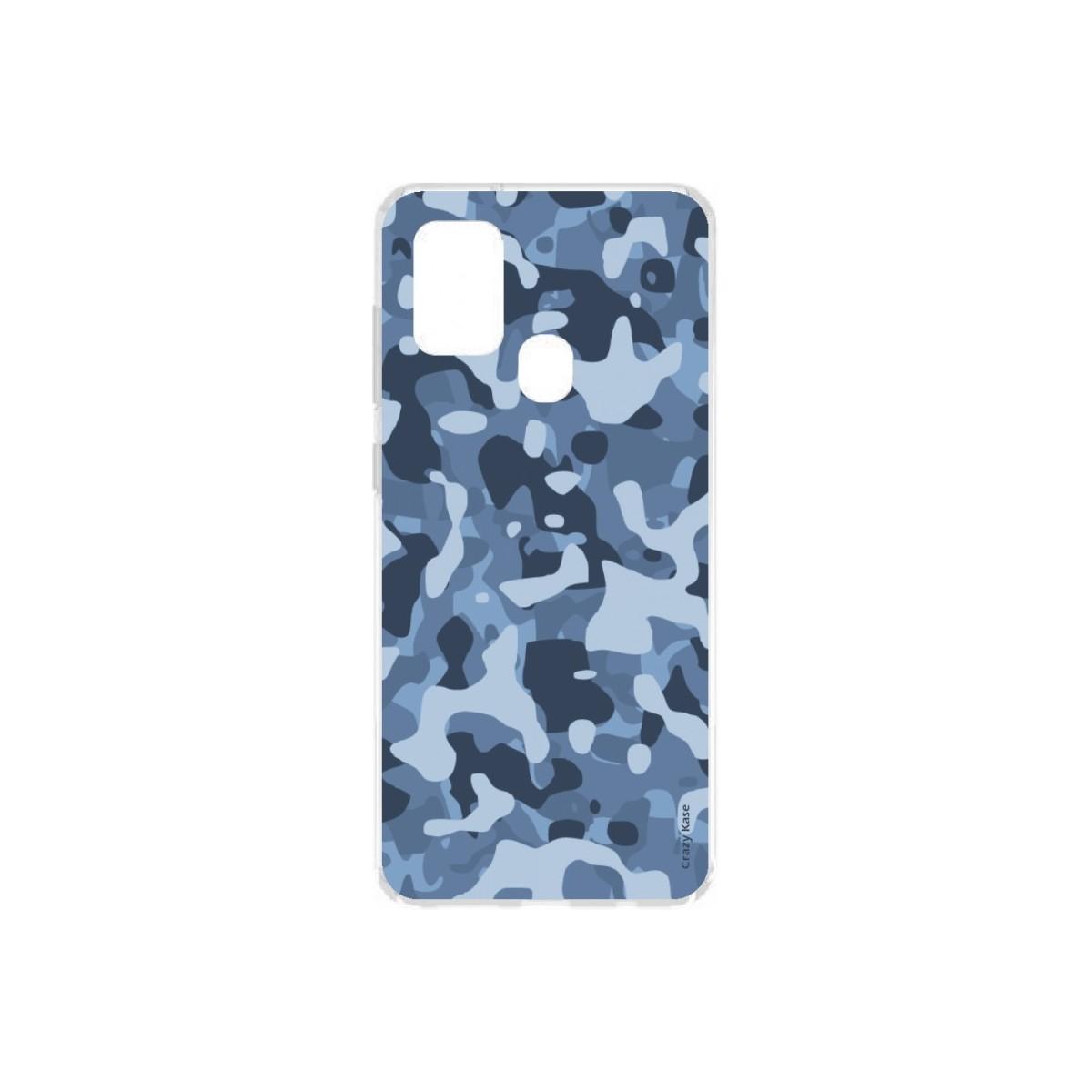 Crazy Kase Coque souple motif Camouflage militaire bleu pour Samsung Galaxy A21s