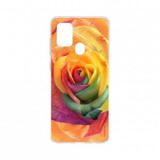 Coque Samsung Galaxy A21s souple Rose fleur colorée Crazy Kase