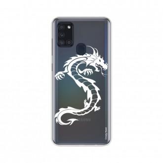 Coque Samsung Galaxy A21s souple Dragon blanc Crazy Kase