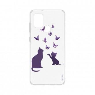 Coque Samsung Galaxy A21s souple Chaton jouant avec papillon Crazy Kase