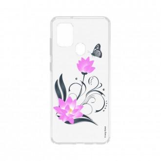 Coque Samsung Galaxy A21s souple Fleur de lotus et papillon Crazy Kase