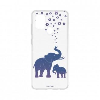 Coque Samsung Galaxy A21s souple Eléphant Bleu Crazy Kase