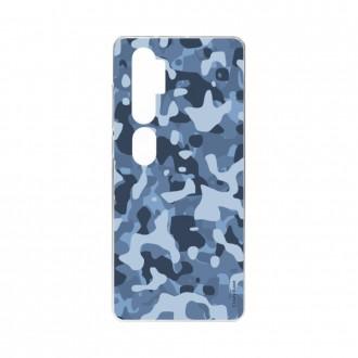 Coque pour Xiaomi Mi Note 10 souple Camouflage militaire bleu Crazy Kase