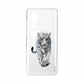 Coque pour Xiaomi Mi Note 10 souple Tigre blanc Crazy Kase