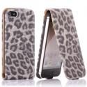 Housse luxe motif léopard gris ouverture verticale pour iPhone 5