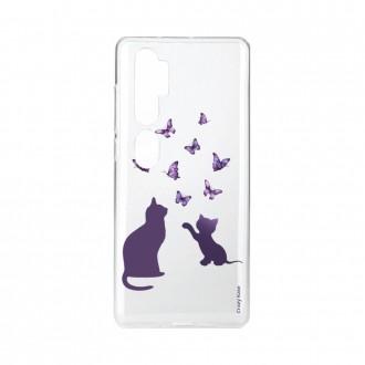 Coque pour Xiaomi Mi Note 10 souple Chaton jouant avec papillon Crazy Kase