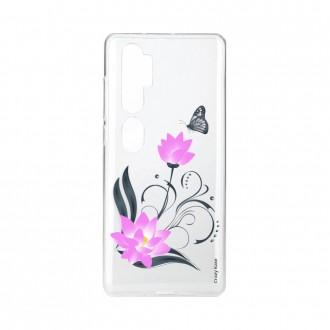 Coque pour Xiaomi Mi Note 10 souple Fleur de lotus et papillon Crazy Kase