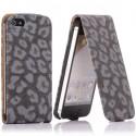 Housse luxe motif léopard noir ouverture verticale pour iPhone 5