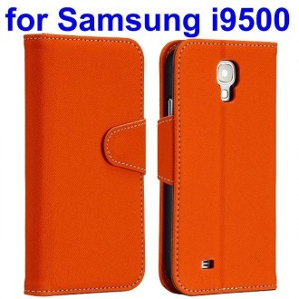Etui simili-cuir orange avec support TV et porte carte pour Samsung Galaxy S4 i9500