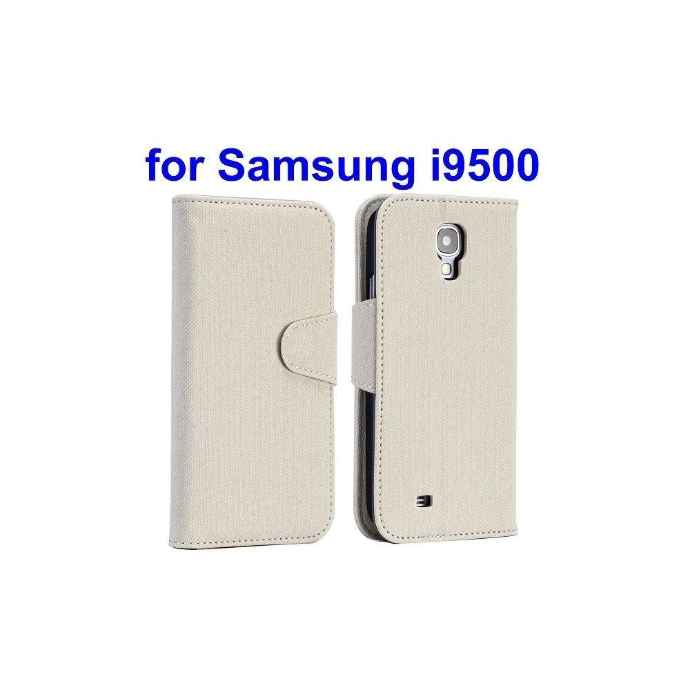 Etui simili-cuir blanc avec support TV et porte carte pour Samsung Galaxy S4 i9500