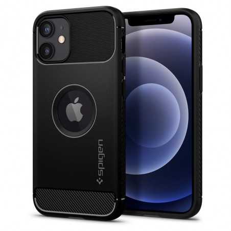 Spigen Coque iPhone 12 Mini (5,4) Rugged Armor noir mat