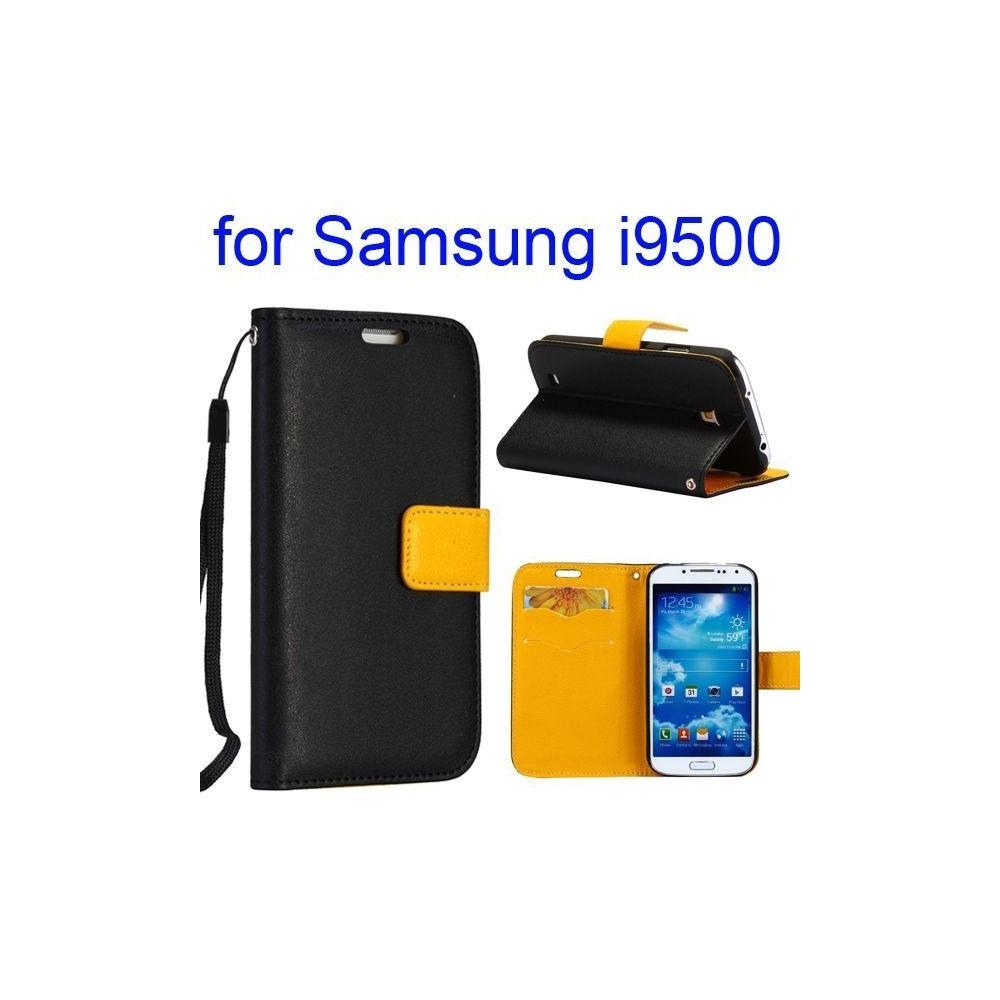 Etui cuir bi-colore noir et jaune avec support TV, lanière et porte carte pour Samsung Galaxy S4 i9500