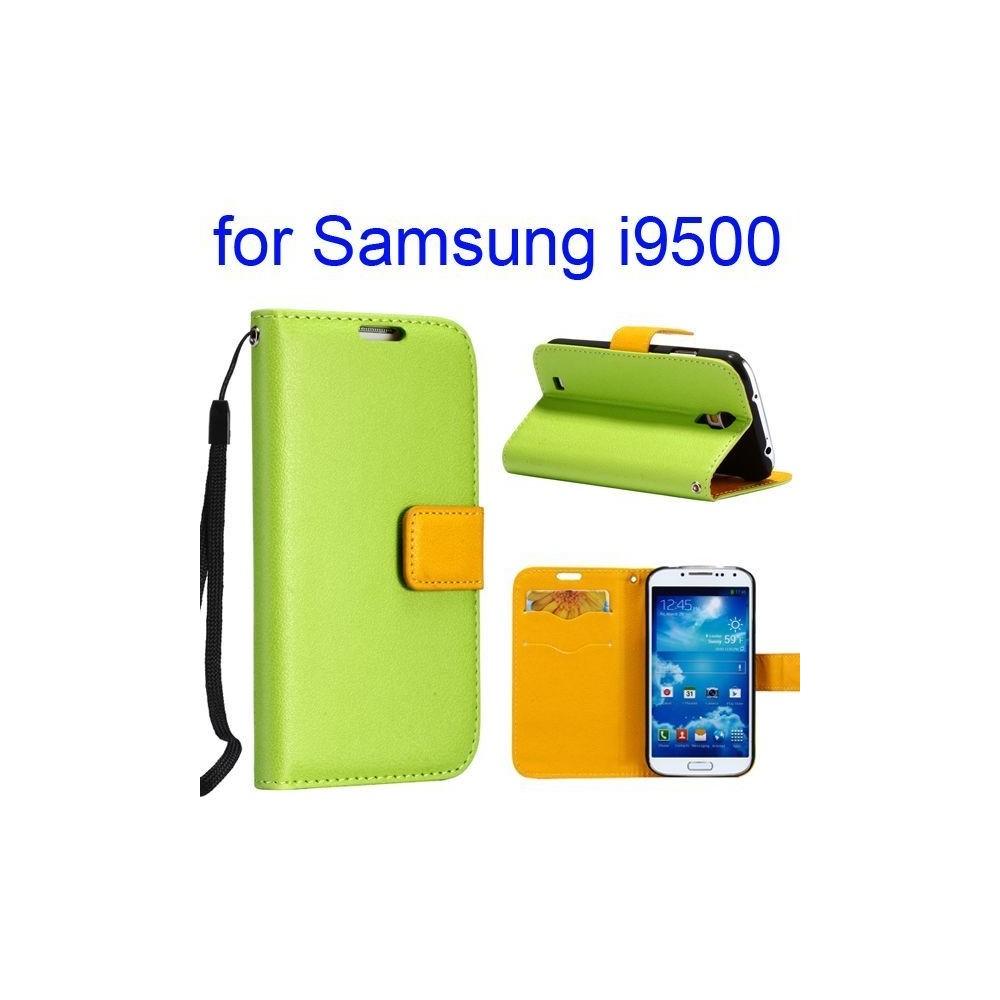 Etui cuir bi-colore vert et jaune avec support TV, lanière et porte carte pour Samsung Galaxy S4 i9500