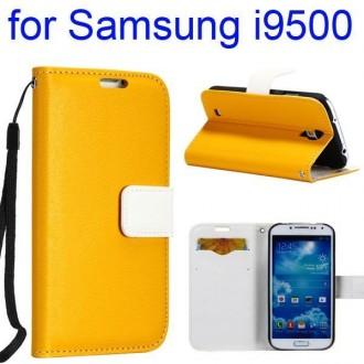Etui cuir bi-colore jaune et blanc avec support TV, lanière et porte carte pour Samsung Galaxy S4 i9500